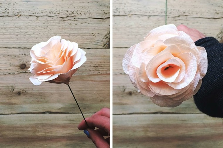 bonita rosa como hacer flores de papel mache