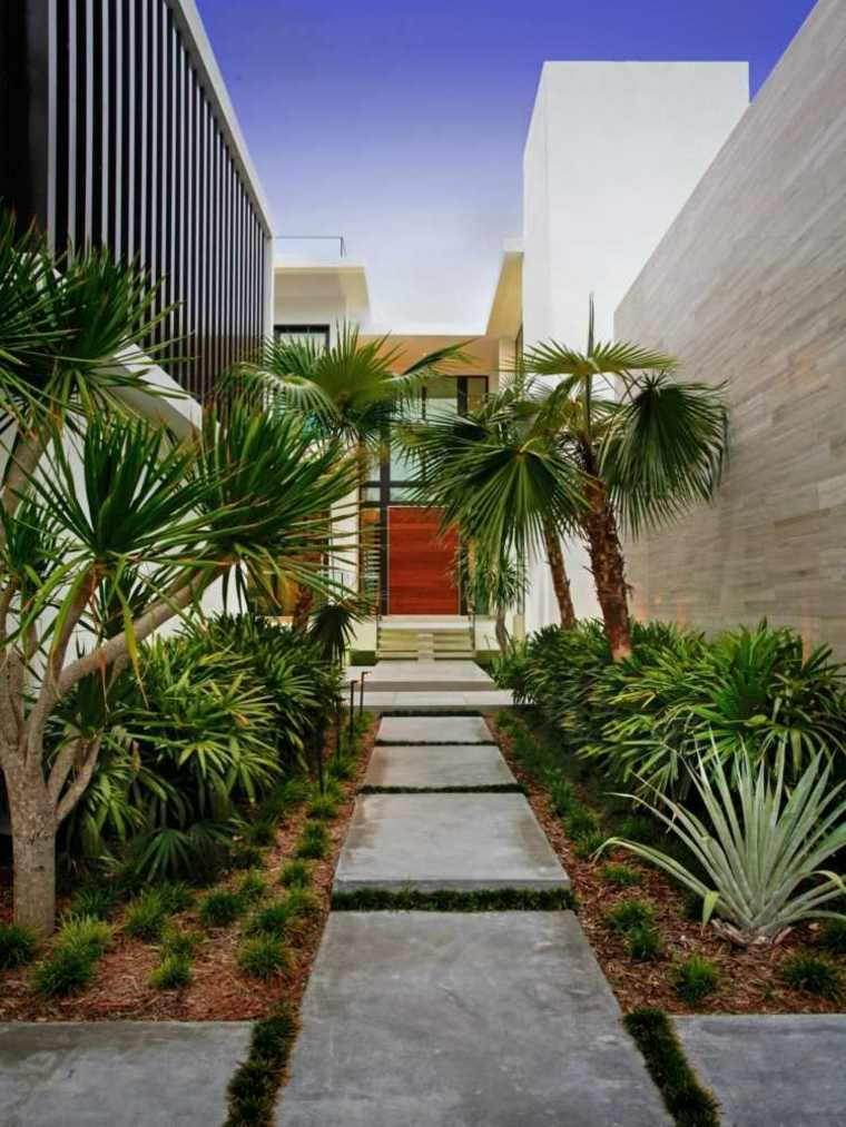 camino jardin cemento diseño moderno
