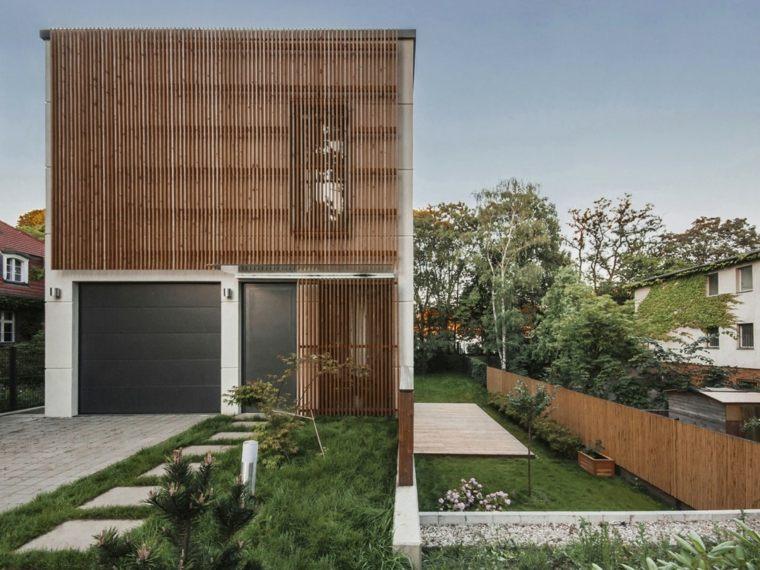 caminos jardin cesped casa diseno minimalista ideas