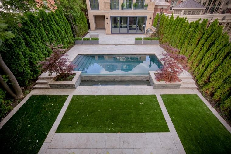 caminos jardin cesped estrecho piscina pequena ideas
