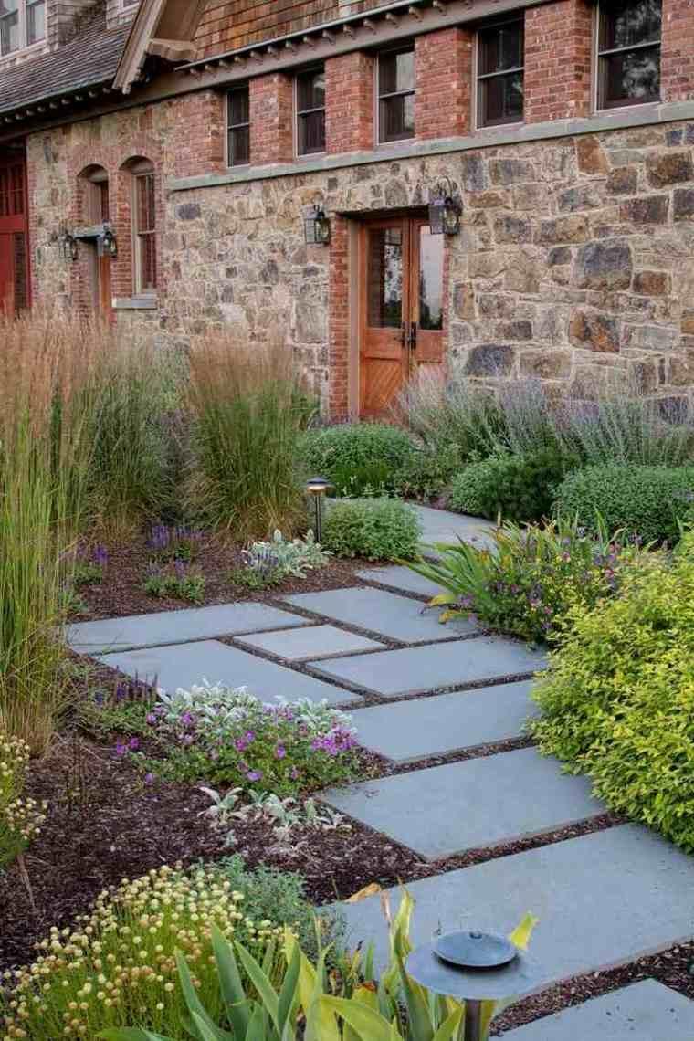 caminos jardin cesped flores entrada casa ideas