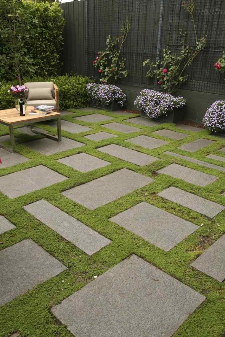caminos jardin cesped losas distintas formas ideas