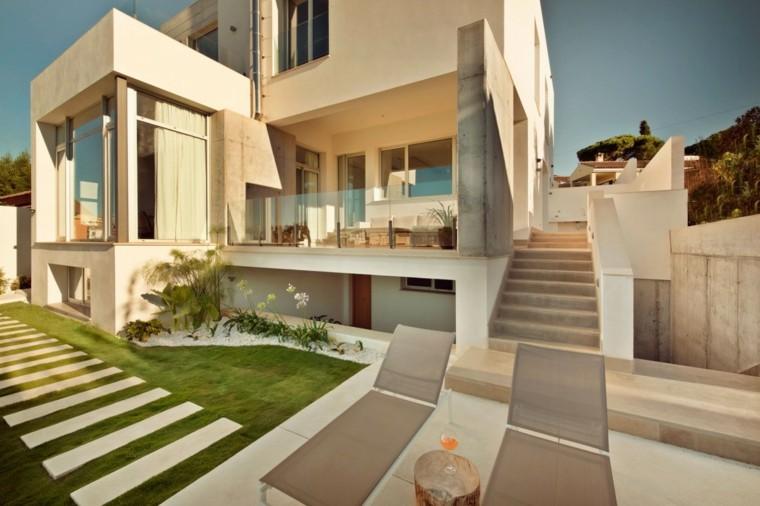 caminos jardin cesped losas rectangulares casa moderna ideas