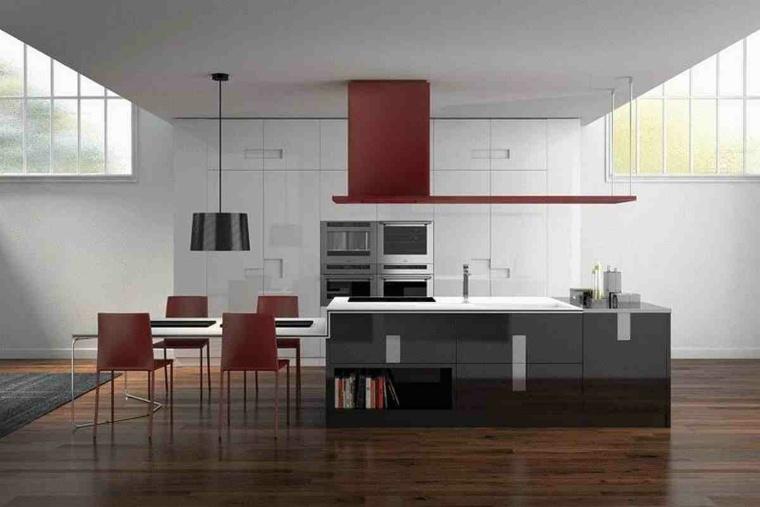 diseo de cocina moderna con campana roja