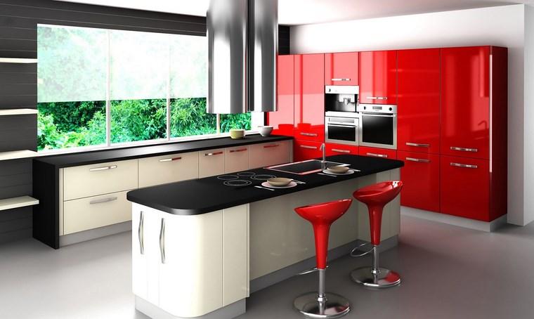 campanas de cocina metal gabinetes color rojo vibrante ideas