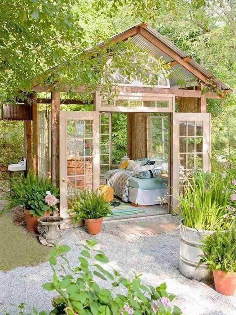 casetas madera jardin madera cristales ideas