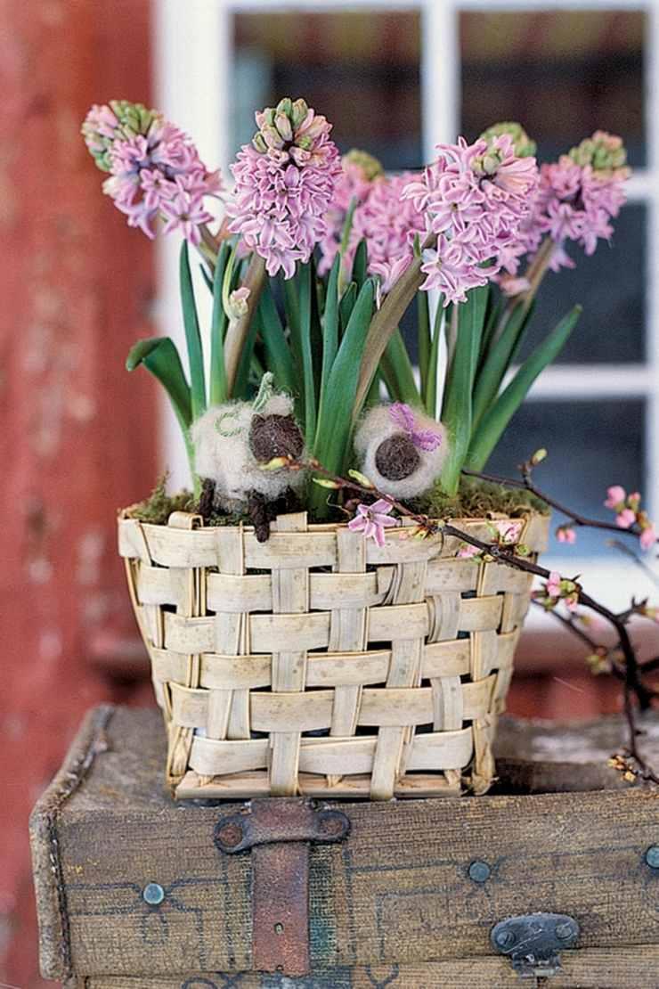 centro mesa flores primavera narcisos cesto ideas