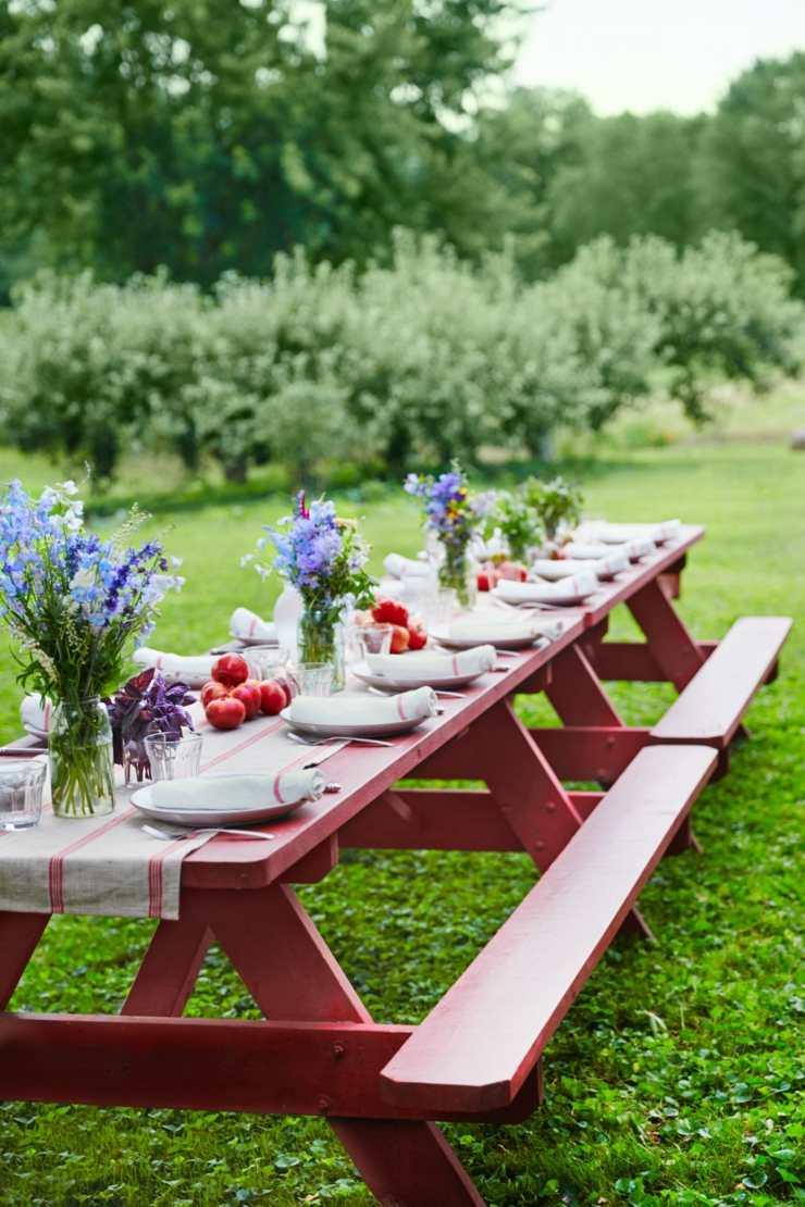 centro mesa flores primavera picnic aire libre ideas