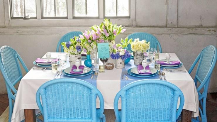 centro mesa flores primavera tulipanes huevos ideas