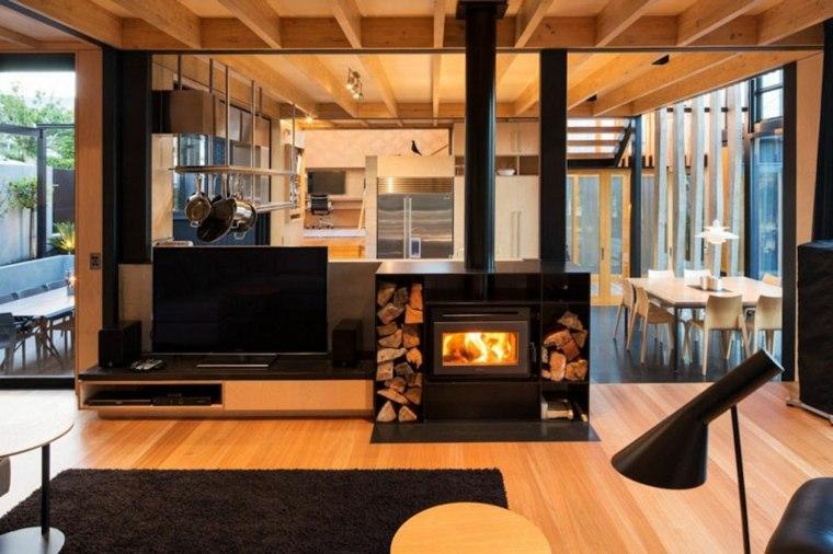 chimeneas de lena negras opciones lugar madera ideas