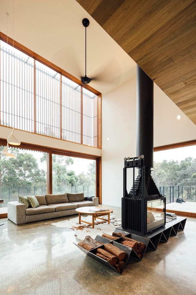 chimeneas de leña opciones lugar madera acero negro ideas