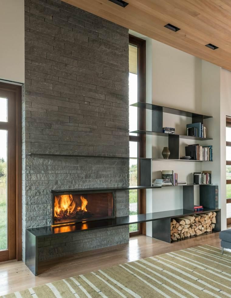 chimeneas de leña opciones lugar madera elegante ideas