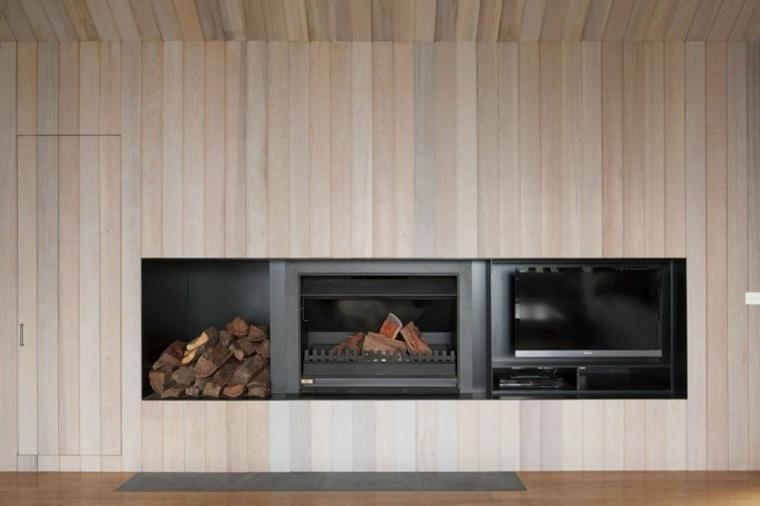 chimeneas de leña opciones lugar madera espacios amplios ideas