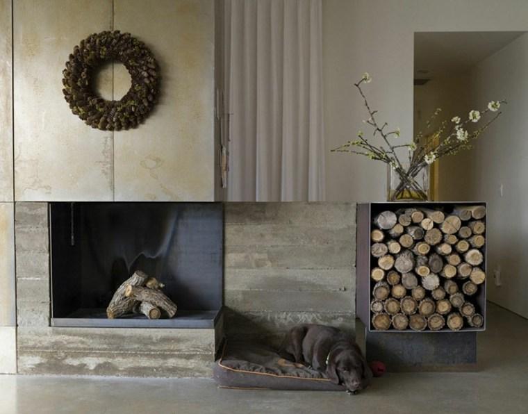 chimeneas de lena opciones lugar madera guirnalda ideas
