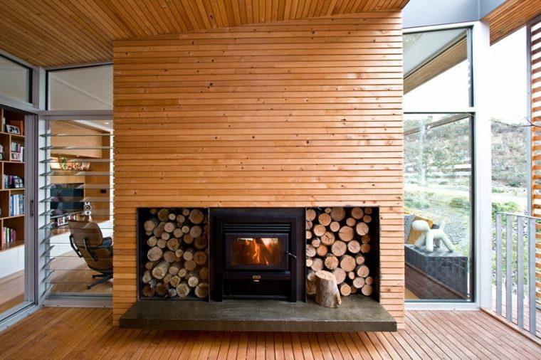 chimeneas de lena opciones lugar madera moderna ideas