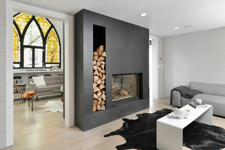 chimeneas de lea opciones lugar madera pared negra ideas