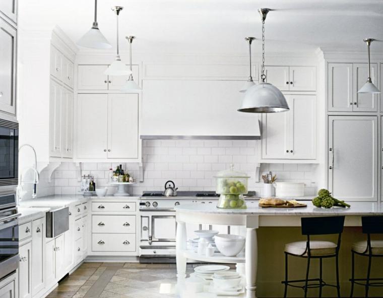 cocina amplio luminosa gabinetes blancos ideas