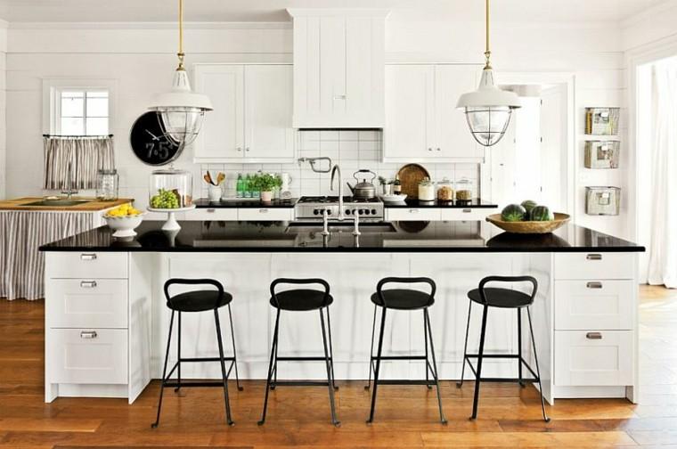 cocina blanca taburetes altos negros