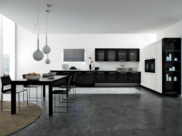 cocina comedor color blanco negro