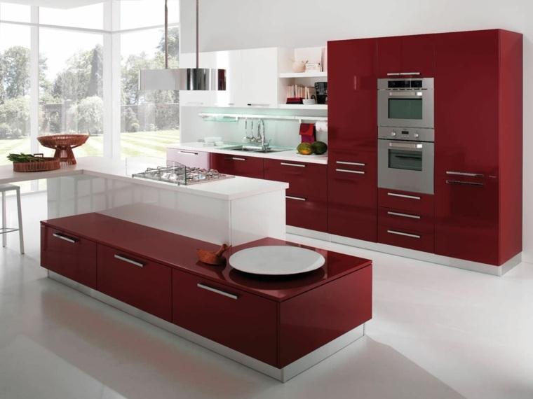 muebles cocina rojo granate