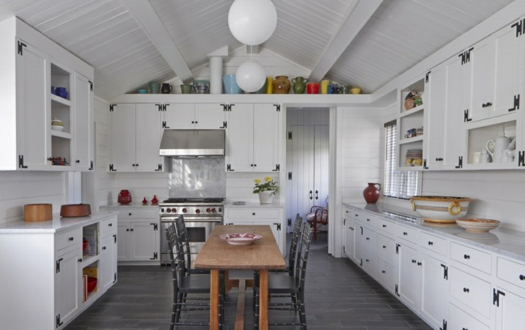 cocina diseno retro mesa comidas madera ideas