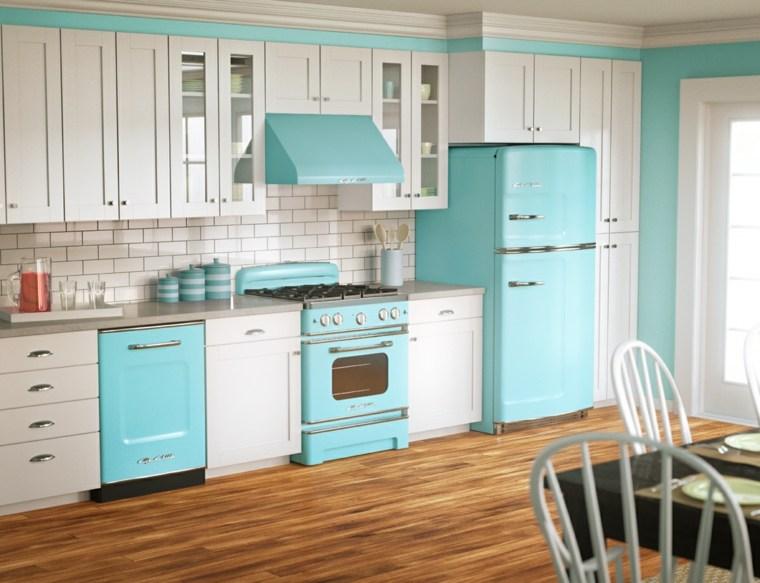 cocina diseno retro vintage azul claro ideas