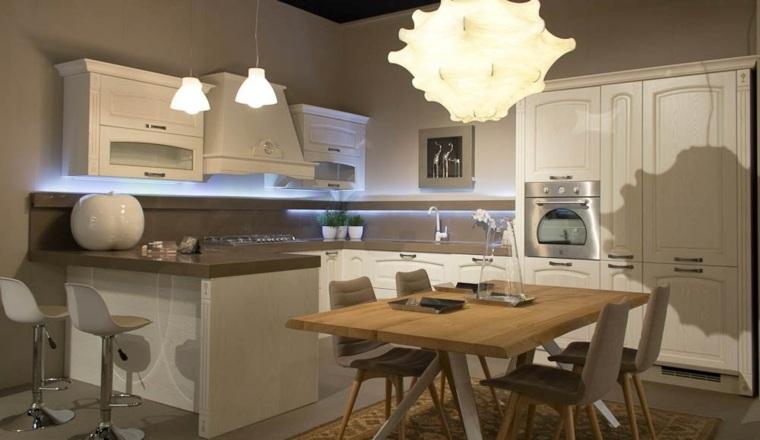cocina diseno retro vintage iluminacion LED ideas
