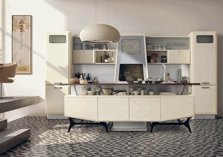 cocina diseno retro vintage isla blanca ideas