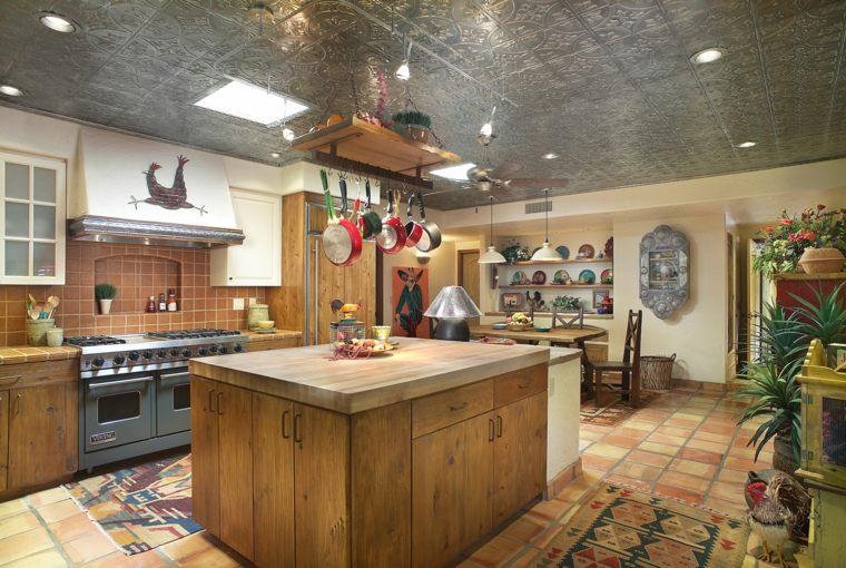 cocina diseno retro vintage isla madera ideas