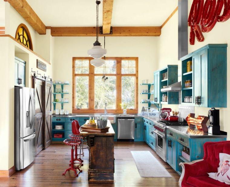 cocina diseno retro vintage muebles azules ideas