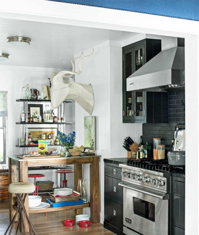cocina diseno retro vintage muebles negros ideas