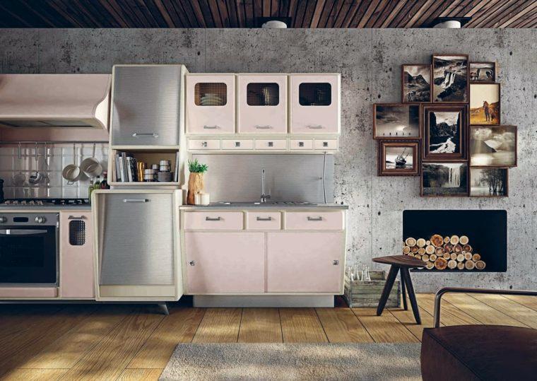 cocina diseno retro vintage muebles rosa ideas