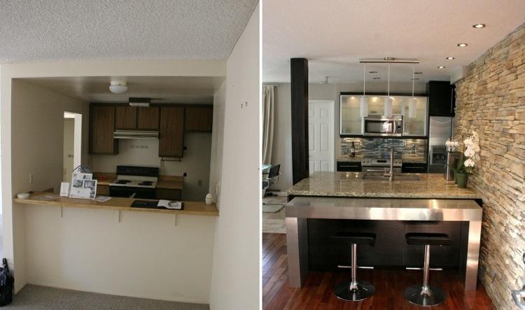 cocina ejemplo muebles paredes renovadas luces