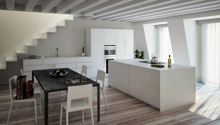 cocina gabinetes lacados color blanco mesa negra ideas