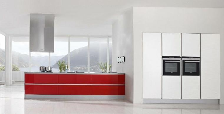 cocina minimalista isla roja