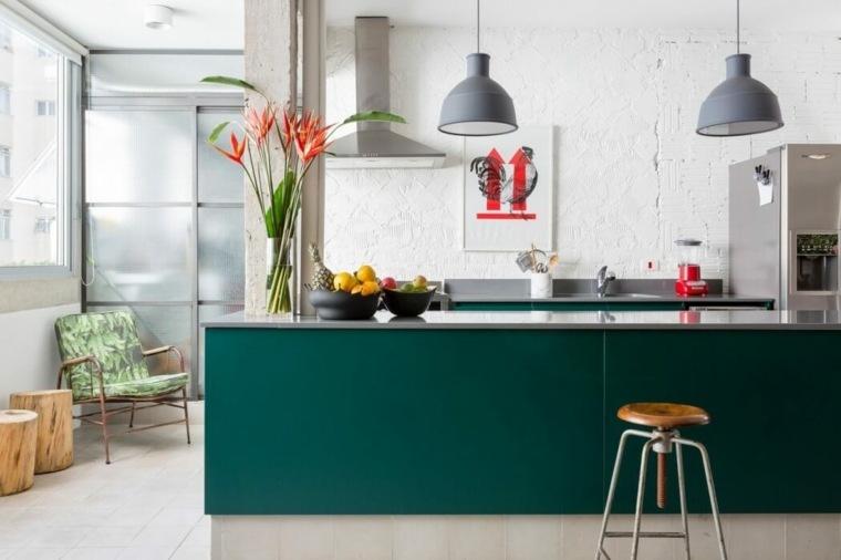 cocina moderna isla color verde
