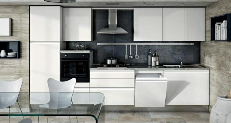 cocina muebles blancos moderna pared negra ideas