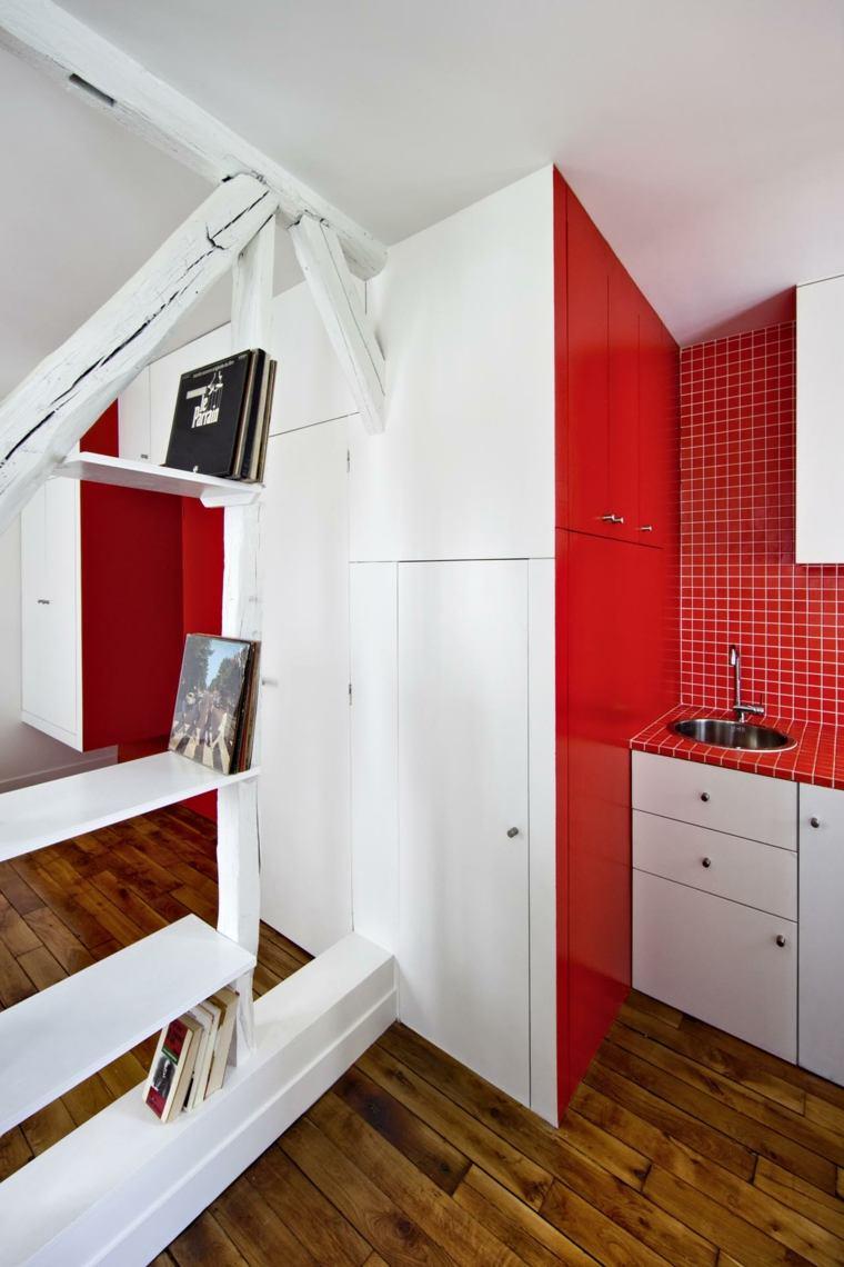 cocina original diseño gresite rojo