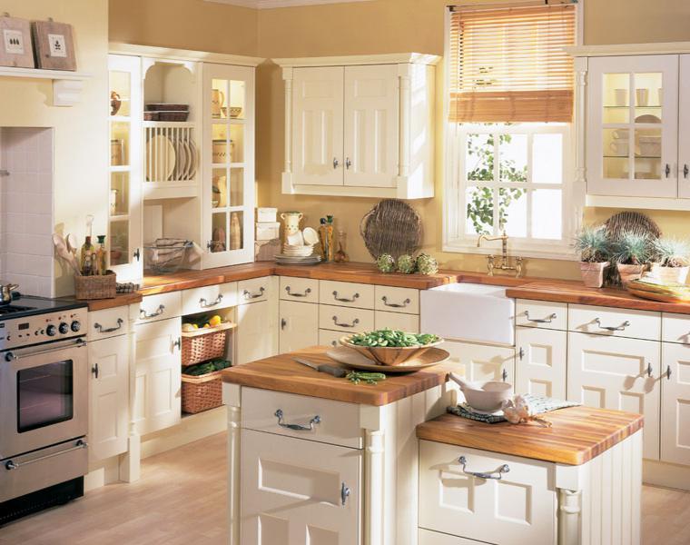 Cocina blanca encimera madera veinticuatro dise os for Cocinas rusticas blancas