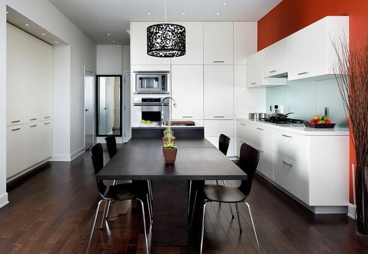 Cocinas rojo con blanco - Cocinas en blanco y negro ...