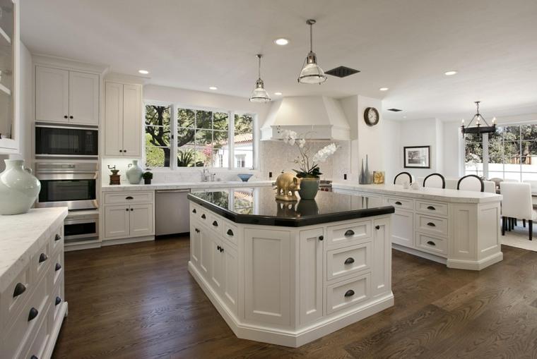 cocinas blancas brillo elegancia isla encimera negra ideas