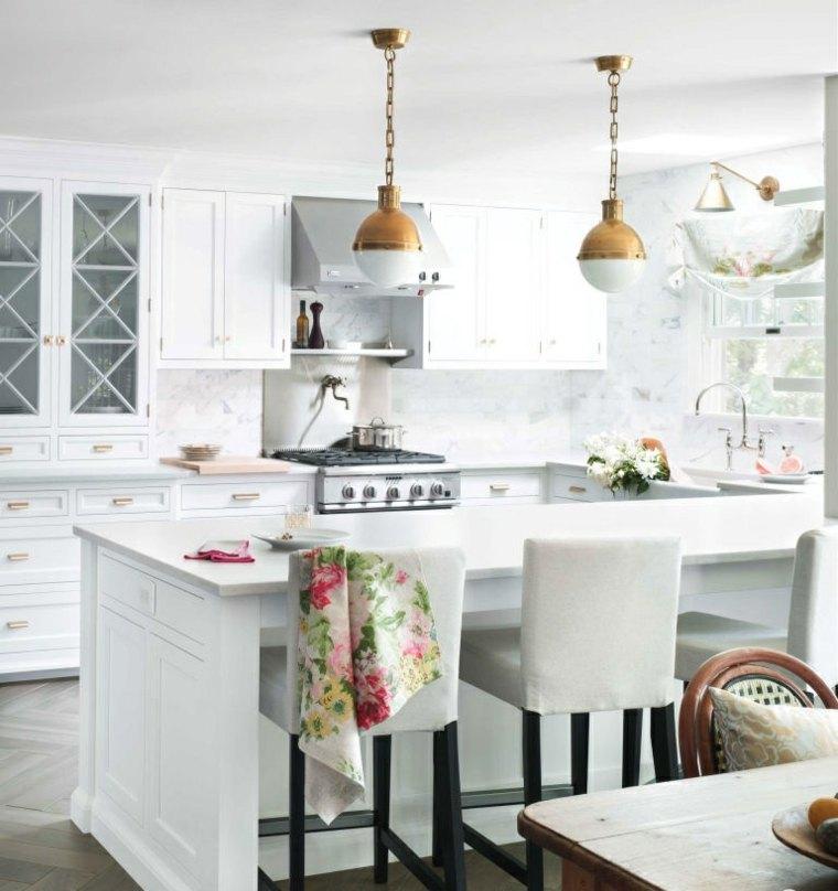 cocinas blancas brillo elegancia lampara preciosas ideas