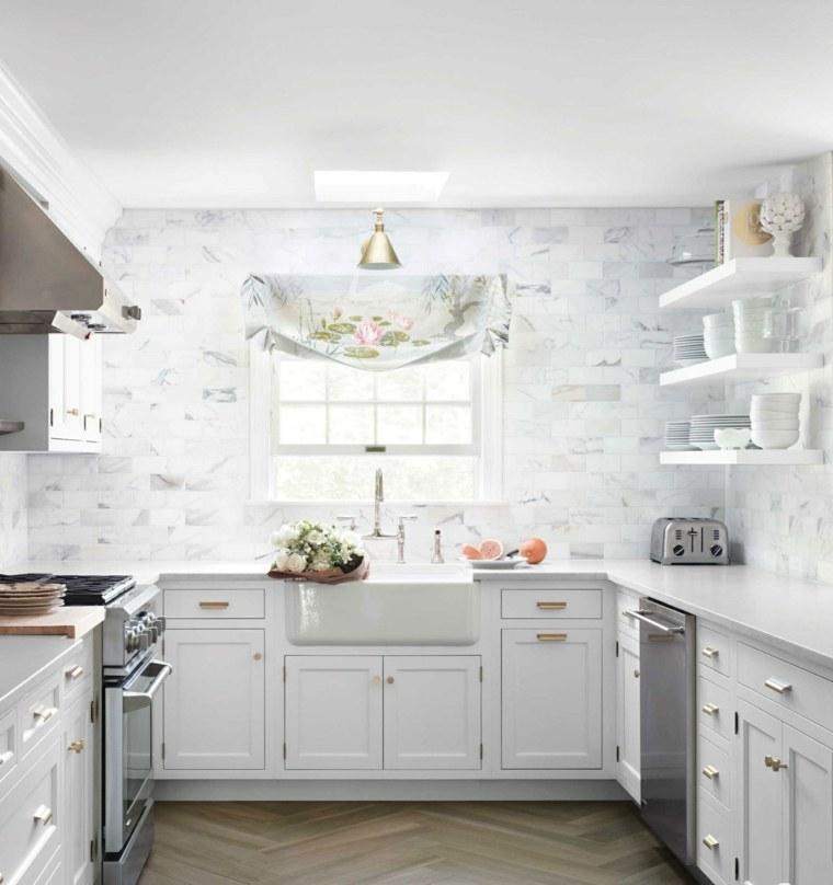 Cocinas blancas brillo y elegancia en el hogar - Losas para cocina ...