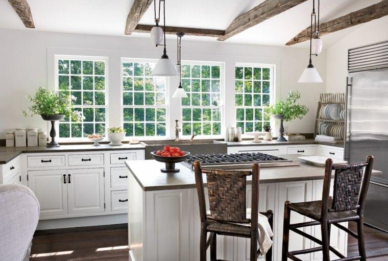 cocinas blancas brillo elegancia sillas isla luminosa ideas