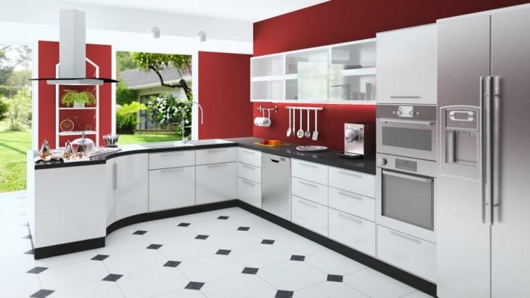 cocinas rojas y blancas diseño