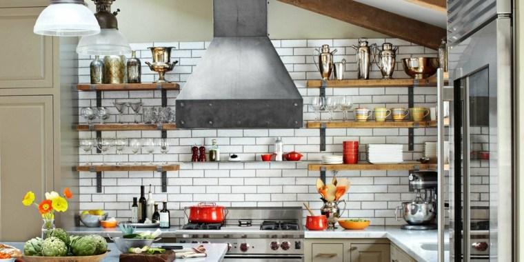 cocinas vintage estantes losas blancas opciones ideas