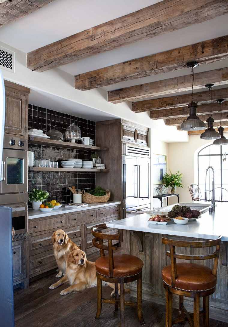 cocinas vintage gabinetes preciosos madera isla ideas