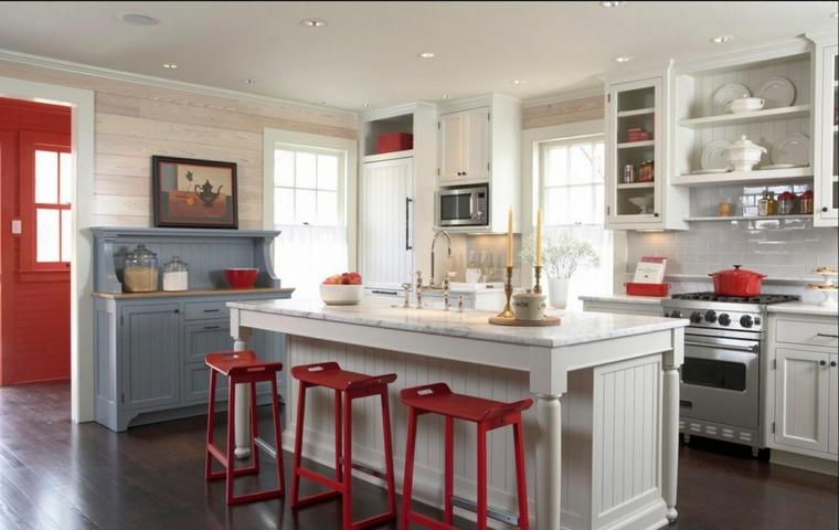 combinacion colores cocina moderna blanca roja gris ideas