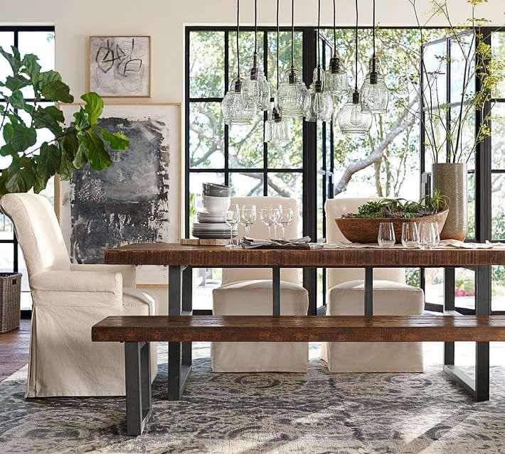 alfombras comedor mesa banco madera alfombra preciosa ideas
