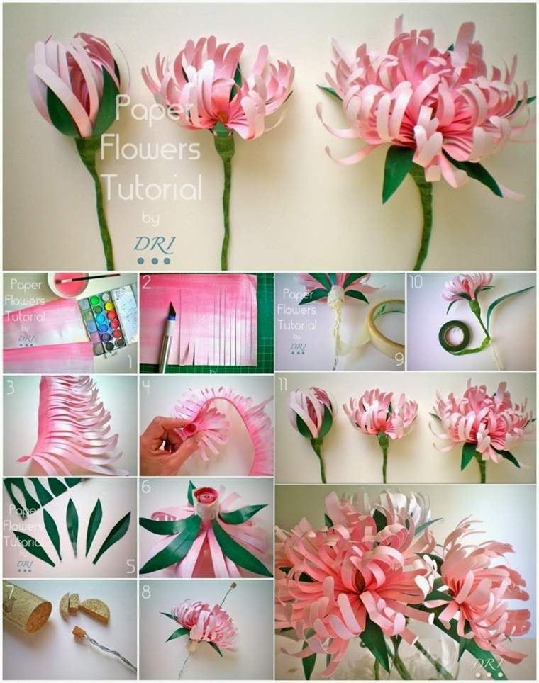 como hacer flores de papel pasos